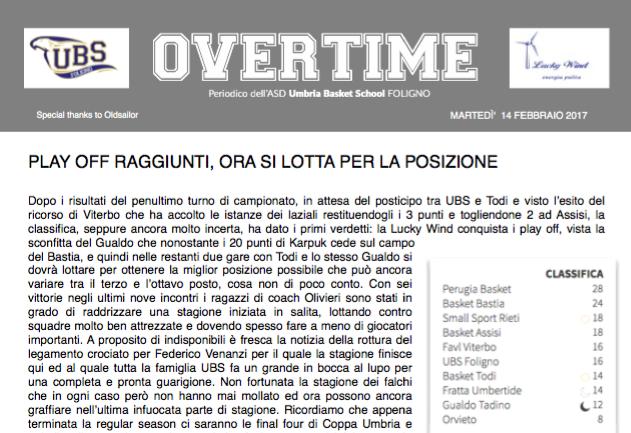 """On line il nuovo numero di """"Overtime"""": leggi tutte le news di prima squadra e giovanili!"""